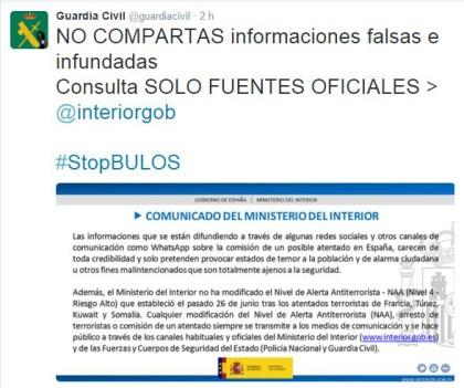 La Guàrdia Civil qualifica a Twitter com a #tontosdelbulo als que parlen de imminents atemptats a Espanya