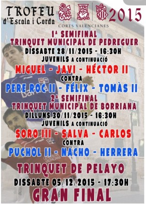 La semifinal del trofeu Corts Valencianes es juga al Trinquet de Borriana