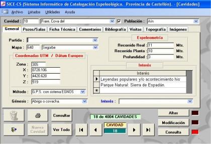AÑO 2004 - Pantalla de datos del SICE-CS - Programa ACCESS-XP