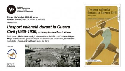 """El Magnànim presenta en Pelayo el llibre """"L'esport valencià durant la Guerra Civil"""""""