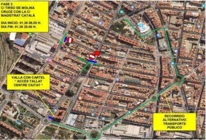 Es talla el trànsit durant un mes a diversos carrers de Gandia