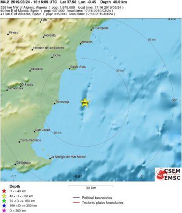 Es produeix un terratrémol a la província d'Alacant