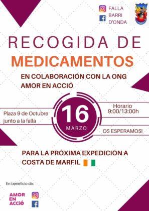 """La Falla Barri d'Onda participa amb l'ONG """"Amor en acció"""" en una recollida de medicaments a Borriana"""