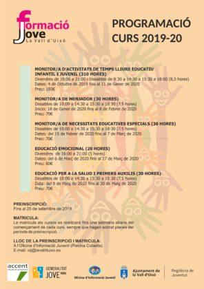 L'Ajuntament de la Vall d'Uixó ofereix cinc cursos dins del programa 'Formació Jove'