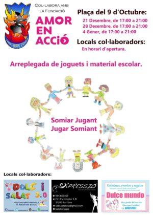La Falla Barri d'Onda de Borriana i la Fundació Amor en Acció, organitzen una arreplegada de joguets i material escolar per als xiquets i xiquetes
