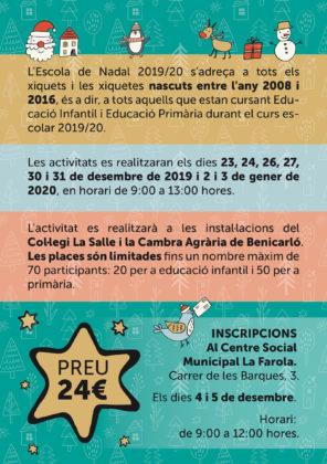 Torna l'Escola de Nadal a Benicarló, per tal de conciliar la vida familiar i laboral