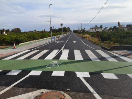 Borriana finalitza les obres del carril ciclopeatonal de la carretera del Grau