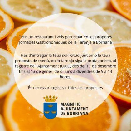 Obert el termini d'inscripció per a les XII Jornades gastronòmiques de la taronja a Borriana