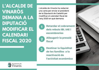 Vinarós demana a la Diputació modificar el calendari fiscal