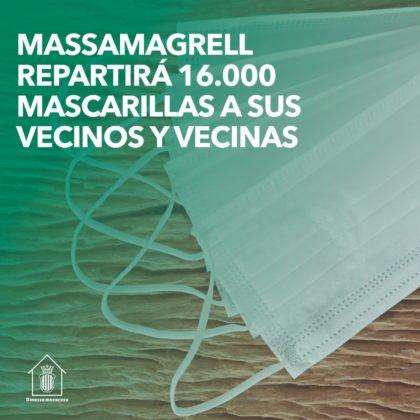 Massamagrell repartirà més de 16.000 màscares reutilitzables a la seua ciutadania de forma personalitzada