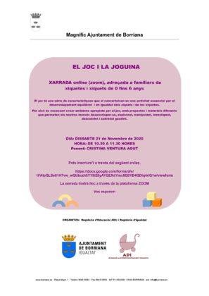 L'ADI de Borriana organitza una xarrada en línia sobre el joc i el joguet