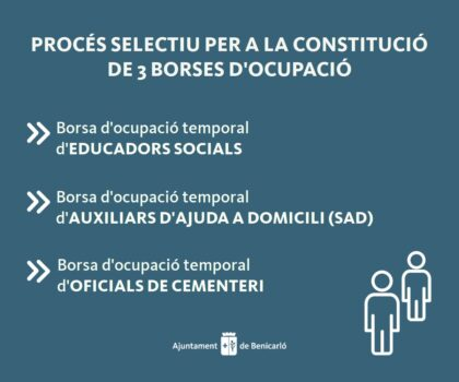 L'Ajuntament de Benicarló convoca tres noves borses d'ocupació temporal