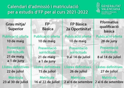 La Conselleria d'Educació publica el calendari d'admissió i matrícula en Formació Professional per al curs 2021-2022 a Sagunt - Diari Millars, informació local en valencià.