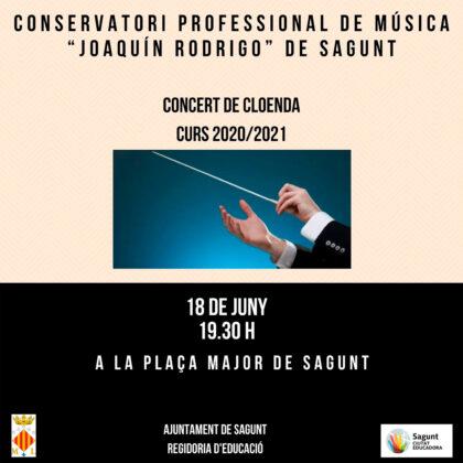 El Conservatori de Música de Sagunt realitza el seu concert de cloenda de curs amb l'Orquestra, la Big band i la Banda